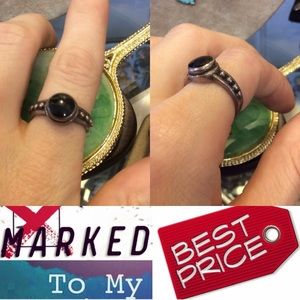 Vintage Jewelry - Black Onyx Dot 925 Silver Ring